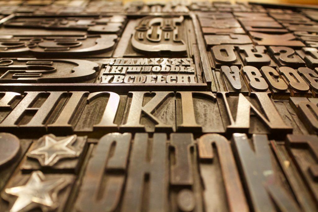 il libro è un prodotto - tavola caratteri di stampastampa